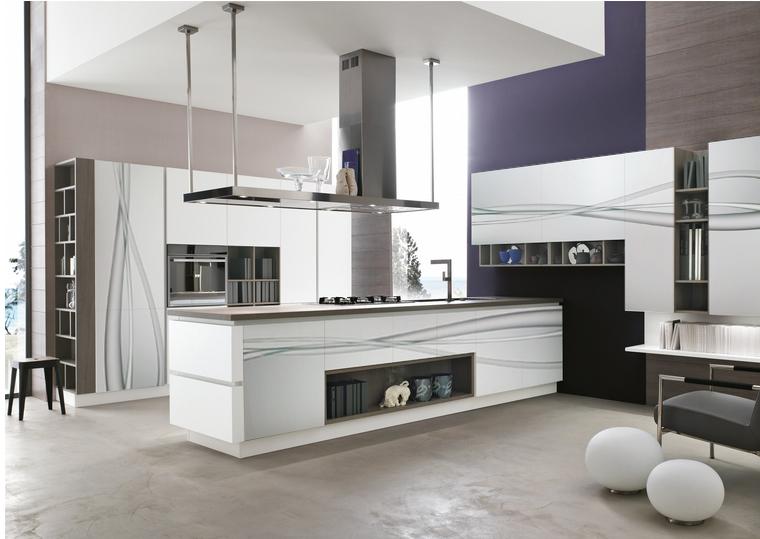 Cocinas sobrias y elegantes cristales decorados - Cocinas decoradas en blanco ...